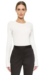 Jason Wu Baseball Crew Neck Sweater Chalk