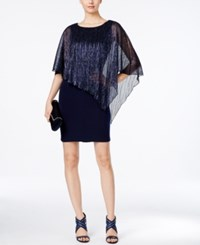Connected Sheer Capelet Sheath Dress Navy