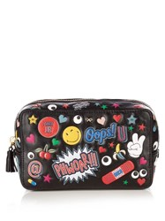 Anya Hindmarch All Over Stickers Leather Make Up Bag Black Multi