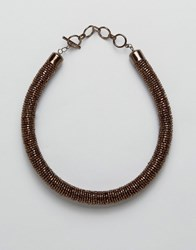 Oasis Beaded Roll Collar Necklace Brown Gold