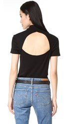 Splendid 1X1 Slub Mock Neck Short Sleeve Top Black