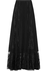 Elie Saab Lace Paneled Silk Chiffon Maxi Skirt Black