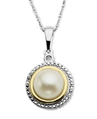 Macy's 14K Gold And Sterling Silver Necklace Cultured Freshwater Pearl And Diamond Accent Pendant