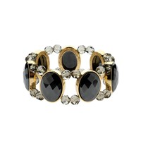 Monet Gold And Faceted Hematite Stretch Bracelet