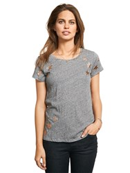 Hush Scatter Star T Shirt Mid Grey Marl Metallic Gold