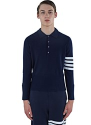 Thom Browne 4 Bar Cashmere Polo Shirt Navy