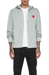 Comme Des Garcons Play Red Emblem Zip Cotton Hoodie In Gray