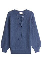 Claudia Schiffer Wool Pullover With Lace Up Front Blue