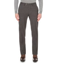Canali Houndstooth Brushed Cotton Chinos Brown