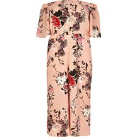 River Island Womens Plus Pink Print Bardot Jumpsuit