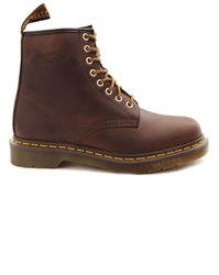 Dr. Martens 1460 Brown Leather Boots With Yellow Stitching
