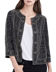 Velvet By Graham And Spencer Open Front Beaded Three Fourth Jacket Black