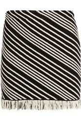 Sonia Rykiel Fringed Striped Cotton Blend Mini Skirt