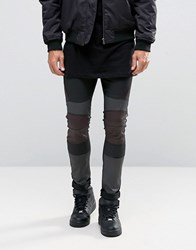 Asos Extreme Super Skinny Jeans With Leather Look Biker Panels Black Multi