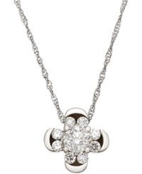 Macy's Diamond Cluster Clover Pendant Necklace 1 2 Ct. T.W. In 14K White Gold