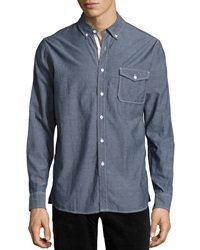 Ag Adriano Goldschmied Signature Flap Pocket Woven Shirt Navy