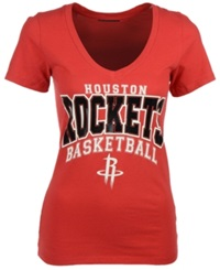 5Th And Ocean Women's Houston Rockets Foil V Neck T Shirt Red