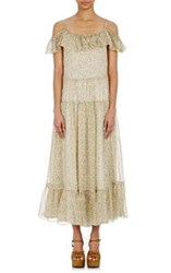 Saint Laurent Women's Peasant Maxi Dress Yellow