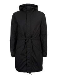 Topman Black Lightweight Cotton Long Parka