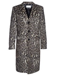 Saint Laurent Leopard Print Coat Multi