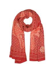 Tory Burch Crab Print Cotton Stole Red