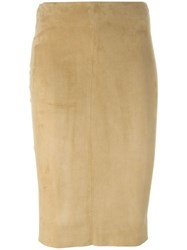 Drome Midi Pencil Skirt Nude And Neutrals