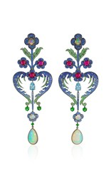 Lydia Courteille Floral Earrings Blue