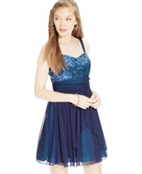 Speechless Juniors' Sequin Embellished Chiffon Party Dress