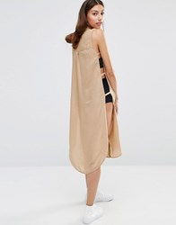 Vero Moda Open Slit Long Shirt Dress Tannin Brown