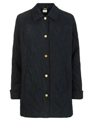 Eastex Abstract Leaf Quilt Raincoat Navy
