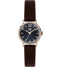 Orla Kiely Ok2014 Frankie Leather And Stainless Steel Watch Black