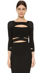 Cushnie Et Ochs Cropped Slashed Top Black