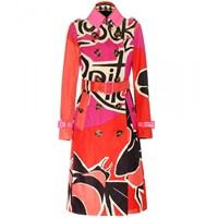 Burberry Printed Cotton Trench Coat With Patent Leather Trims