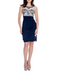 Decode 1.8 Floral Accented Sheath Dress Navy