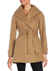 Trina By Trina Turk Belted Wool Blend Coat Camel