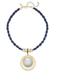 Inc International Concepts Gold Tone Navy Braided Faux Suede White Resin Pendant Necklace Only At Macy's