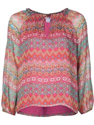 Diane Von Furstenberg 'Parry' Peasant Blouse Pink And Purple