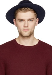 Burberry Indigo Blue Rabbit Felt Round Hat
