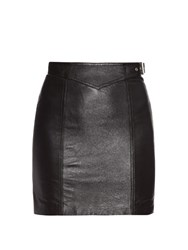 Saint Laurent Side Buckle Leather Mini Skirt Black