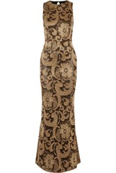 Alice Olivia Roxie Cutout Back Lace Gown Bronze