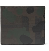 Burberry Camouflage Print Textured Leather Billfold Wallet Green