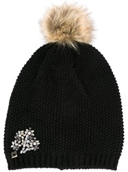 Twin Set Fur Pom Pom Beanie Black