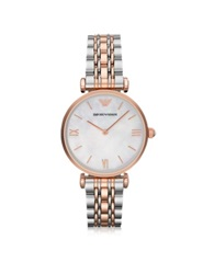 Emporio Armani White Mother Of Pearl Dial Stainless Steel And Rose Gold Tone Women's Watch Silver
