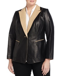 Lafayette 148 New York Stelly Two Tone Leather Jacket Black Moccasin