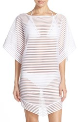 Women's Ted Baker London Shadow Stripe Mesh Cover Up Caftan White
