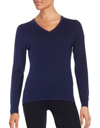 Lord And Taylor Merino Wool V Neck Sweater Evening Blue