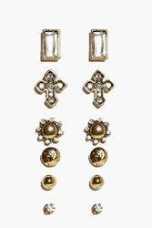 Boohoo Ornate Cross Multipack Earrings Gold