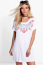 Boohoo Flower Printed T Shirt Dress White
