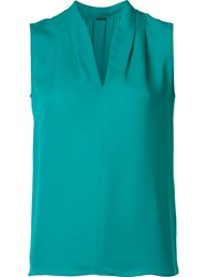 Elie Tahari V Neck Blouse Green
