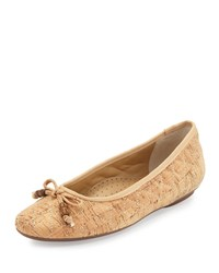 Neiman Marcus Sidney Quilted Cork Bow Flat Natural